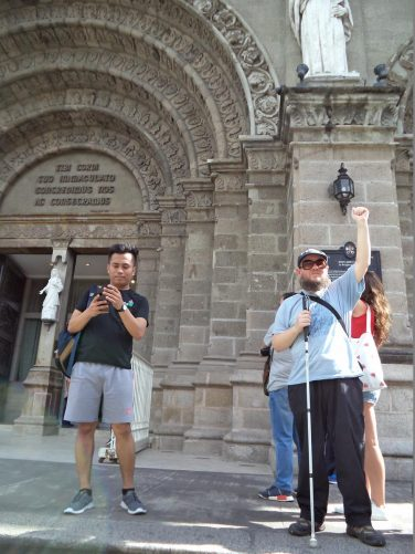 Tony with other couchsurfers outside the main entrance to Manila Cathedral.