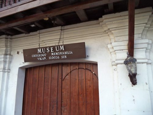 Entrance doorway to the Crisologo Museum. This was the ancestral house of Floro Crisologo, an important local political figure, who was assassinated inside St Paul's Cathedral in 1970. The museum's collections include Crisologo family memorabilia.