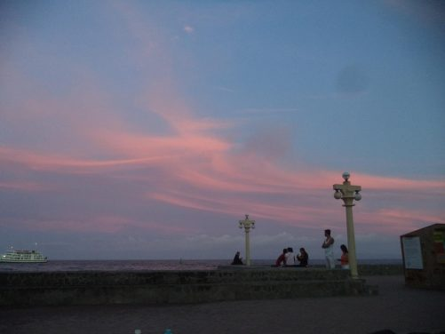 On Rizal Boulevard looking towards the sea during the evening.