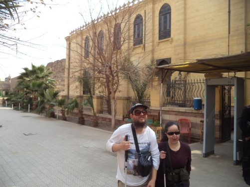 Tony and Tatiana outside Ben Ezra Synagogue, located deep in the winding alleys of Coptic Cairo. Ben Ezra Synagogue is the oldest Jewish temple in Cairo, dating from the 9th century AD.