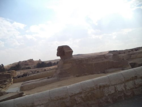 View of the Great Sphinx of Giza, a mythical creature with the body of a lion and the head of a human. It was built of limestone during the reign of the Pharaoh Khafre (about 2558–2532 BC). Current consensus among many Egyptologists is that the head of the Sphinx is that of Khafre. It measures 73 metres in length from paw to tail and is 20.2 metres in height.