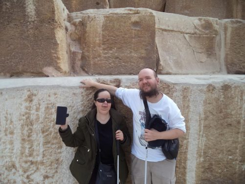 Again Tatiana and Tony at the base of the Great Pyramid.