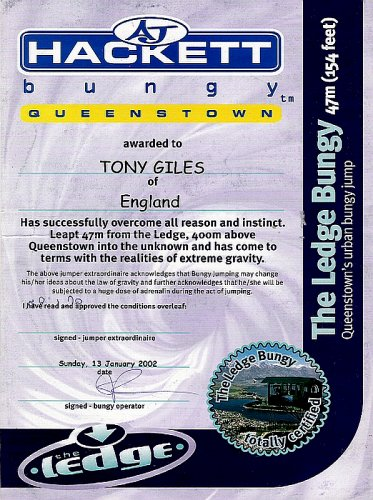 Certificate of completion: The Ledge Bungy