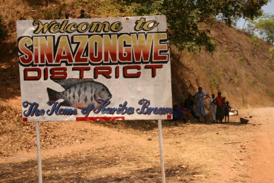 Signpost - Welcome to Sinazongwe District, the home of Kariba bream