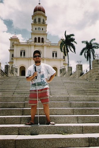 In front of El Cobre church, Santiago de Cuba