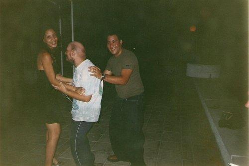 Tony dancing with Manrique and Glensy at San Pedro del Mar night club, Santiago de Cuba