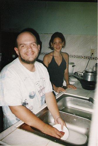 Tony washing dishes