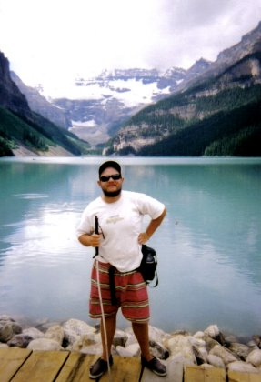 Tony on the shore of Lake Louise
