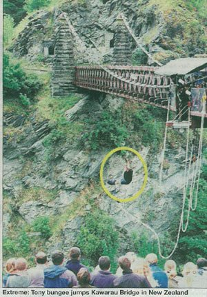 Extreme: Tony bungee jumps Kawarau Bridge in New Zealand
