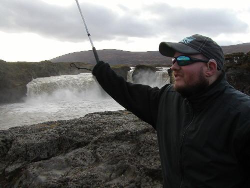 Tony at Godafoss waterfall