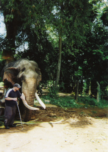 Tony and a blind elephant at Pinnawala Elephant Sanctuary