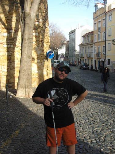 Tony in a street near the castle