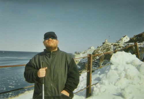 Tony in the snow and sun, Cape Spear