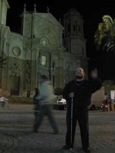 Tony in front of a church in Cadiz centre