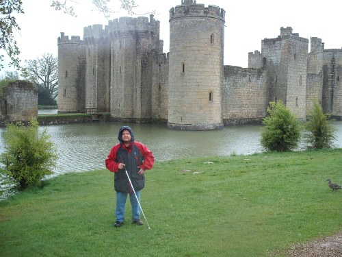 Tony, in the rain, outside Bodium Castle, East Sussex