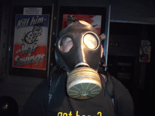 Tony wearing a gas mask at Sir Winston Churchill's war experience museum