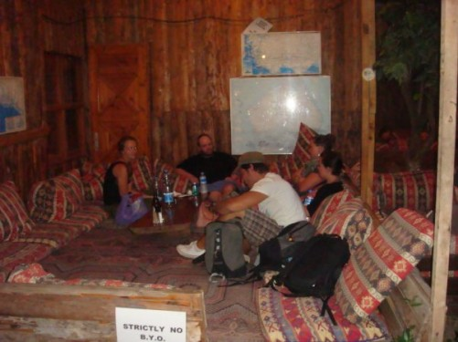 Relaxing with Joe and three other travellers, at Bayrams Treehouses, Olympos, 21st September 2009