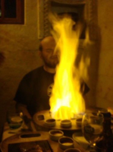 Tony's flaming steak