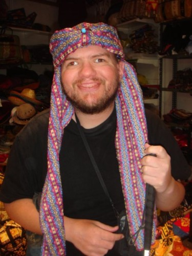 Tony wearing headscarf in hat shop, Göreme, 25th September 2009