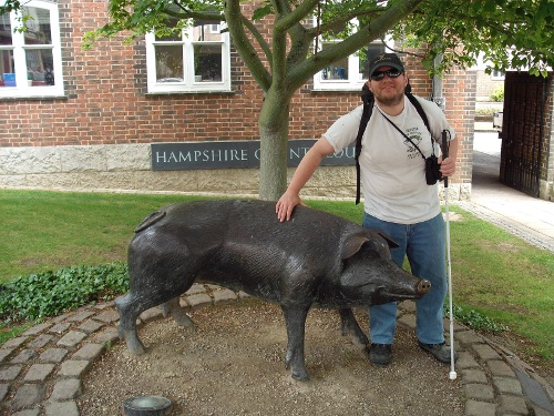 Tony and a wild boar, Winchester, 11th June 2009