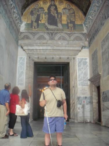 Tony inside the basilica Hagia Sophia, Istanbul