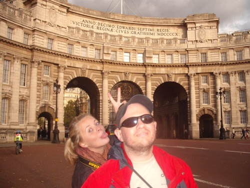 Ciara and Tony outside Victoria's Arch, London