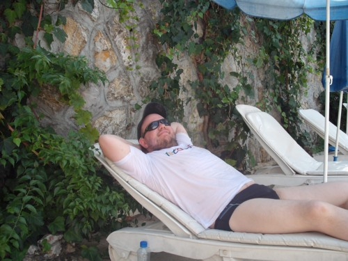 Lounging around at V-GO's Hostel, Fethiye