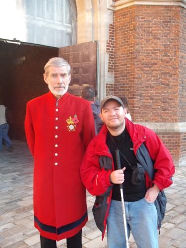 Tony and guard, Hampton Court Palace, London