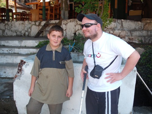 Tony and young man at Saklikent Gorge, Turkey
