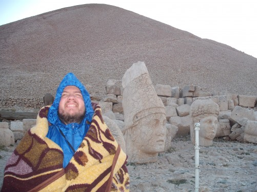 Tony has found two friends! Nemrut Dagi, eastern Turkey