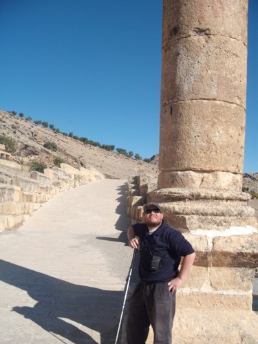 Tony leaning on a pillar, Cendere Bridge
