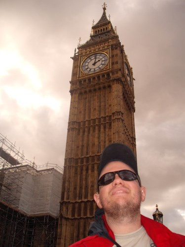 Tony outside Big Ben, London, 26th October 2009