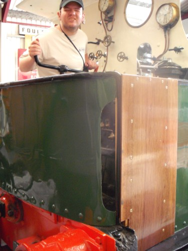 Tony aboard a steam engine, Ingrow Railway Centre