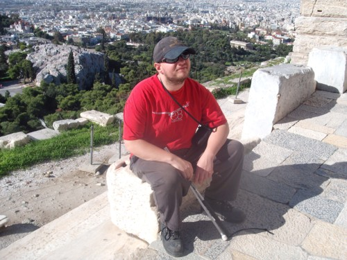 Tony sitting down. The Acropolis, Athens.