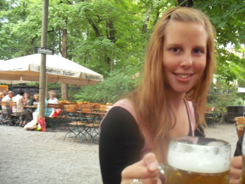 Laura at the beer garden, Munich
