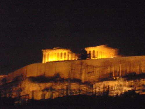 The Acropolis taken from the Hostel roof, Athens, Greece. 6th November 2009.