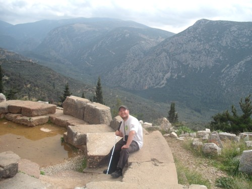 Tony at ancient Delphi ruins, central Greece.