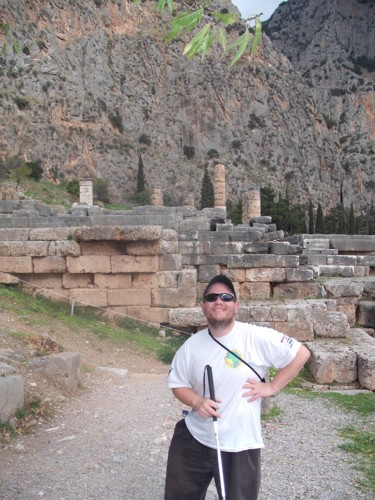 Tony at the ruins, ancient Delphi, central Greece. 6th November 2009.