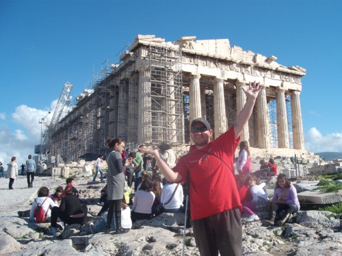 Tony measuring the Parthenon, the Acropolis, Athens, Greece