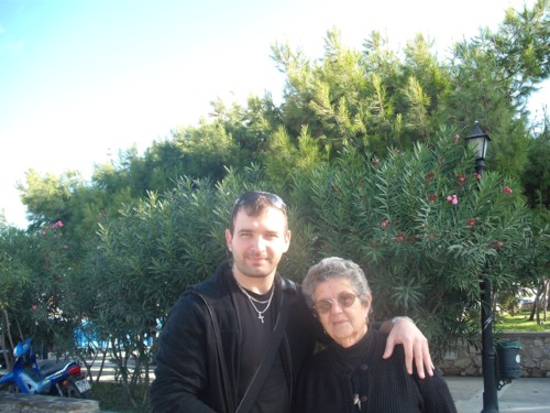 George and a Greek lady in Paros, Greece, 18th November 2009.