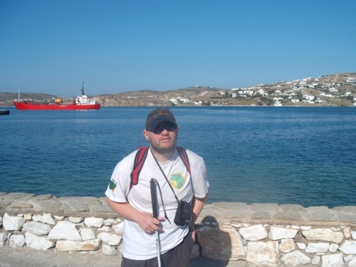 Tony at Paros harbour, Greece, 18th November 2009.