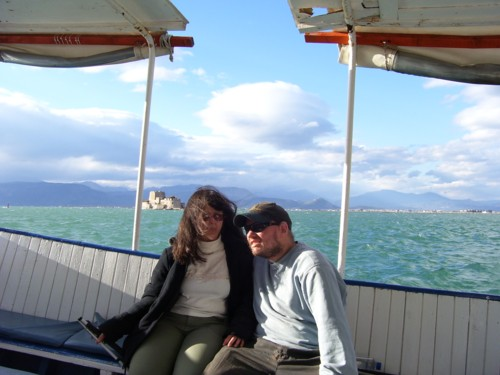 Tony and Tatiana on small motor boat at sea!
