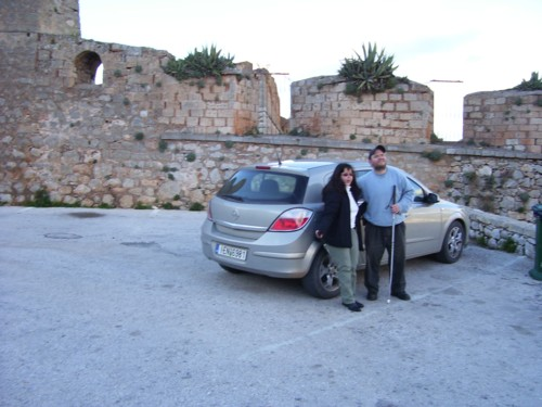 Tony and Tatiana high up in front of Palamidi castle