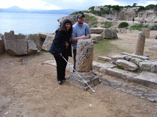 Tony and Tatiana by stone pillar remains of temple of Heraeon.