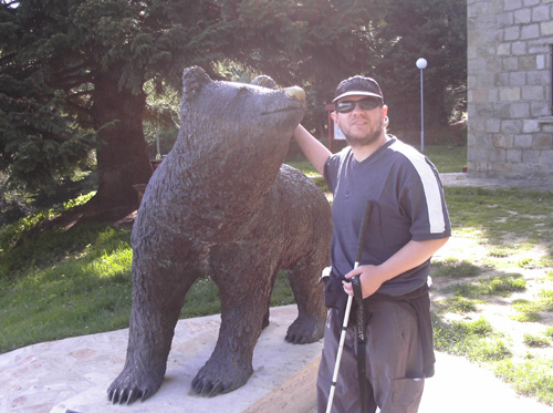 Tony and bear statue in Pelister National Park