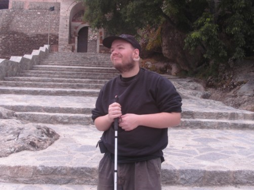 Tony at the clifftop monastery of St Archangel Michael.