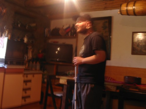 Tony inside Villa Dihovo guesthouse.