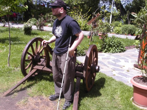 Tony by a cannon stand, St. Naum.