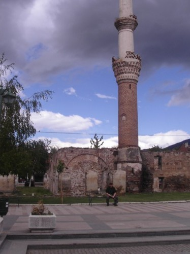 Remains of Carshi Mosque, built in 1475, the only one in Europe with two balconies on its minaret.