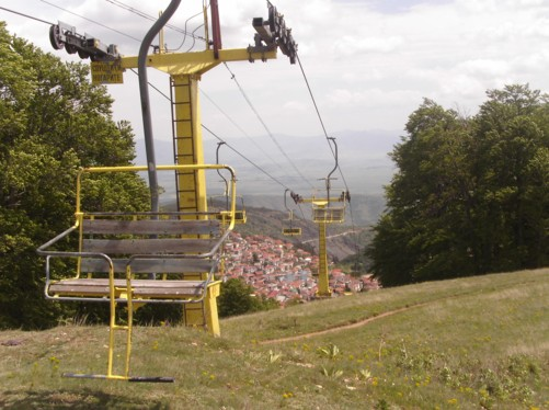 Chairlift above Krusevo town.